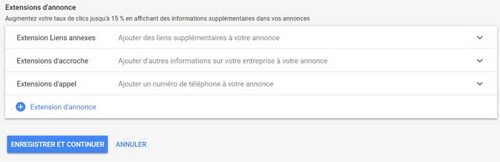 Extensions d'annonce Google Ads