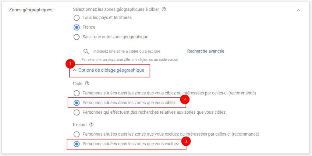 Options de ciblage géographique Google Ads